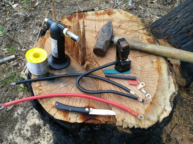 Tools and supplies to build power cables.